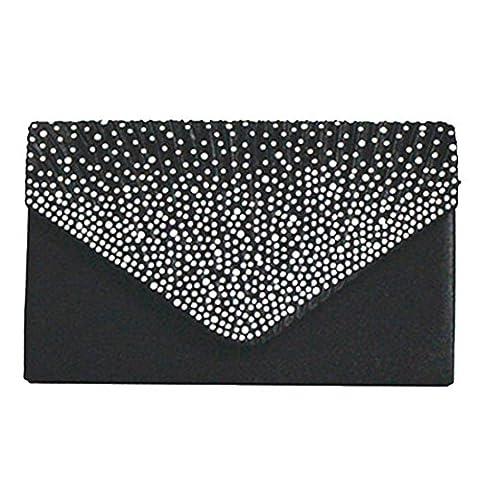 Women Rhinestone Frosted Clutch Bag, Classic Pleated Envelope Clutch Shoulder Bag Evening Handbags Purse