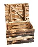 1x Neue geflammte Holztruhe (mittlere Größe)