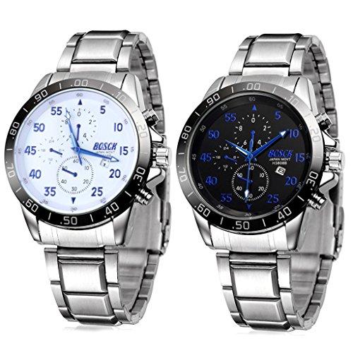 Unendlich U Fashion Casual Sport Herren Armbanduhr Schwarz Weiß Zifferblatt mit Kalender Blau Zeiger Edelstahl Armband Wasserdicht Analog Quarz Uhr(2 Stück)