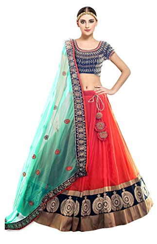 Fashion2wear Women's Net Lehanga Choli (Kayaa_Fenta_Lehenga _Orange_ Free Size)