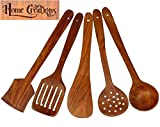 #1: Home Creations Multipurpose Wooden Non Stick Spatulas & Ladles Spoons Set - Set Of 5 (1 Frying, 1 Serving, 1 Spatula, 1 Chapati Spoon, 1 Desert)
