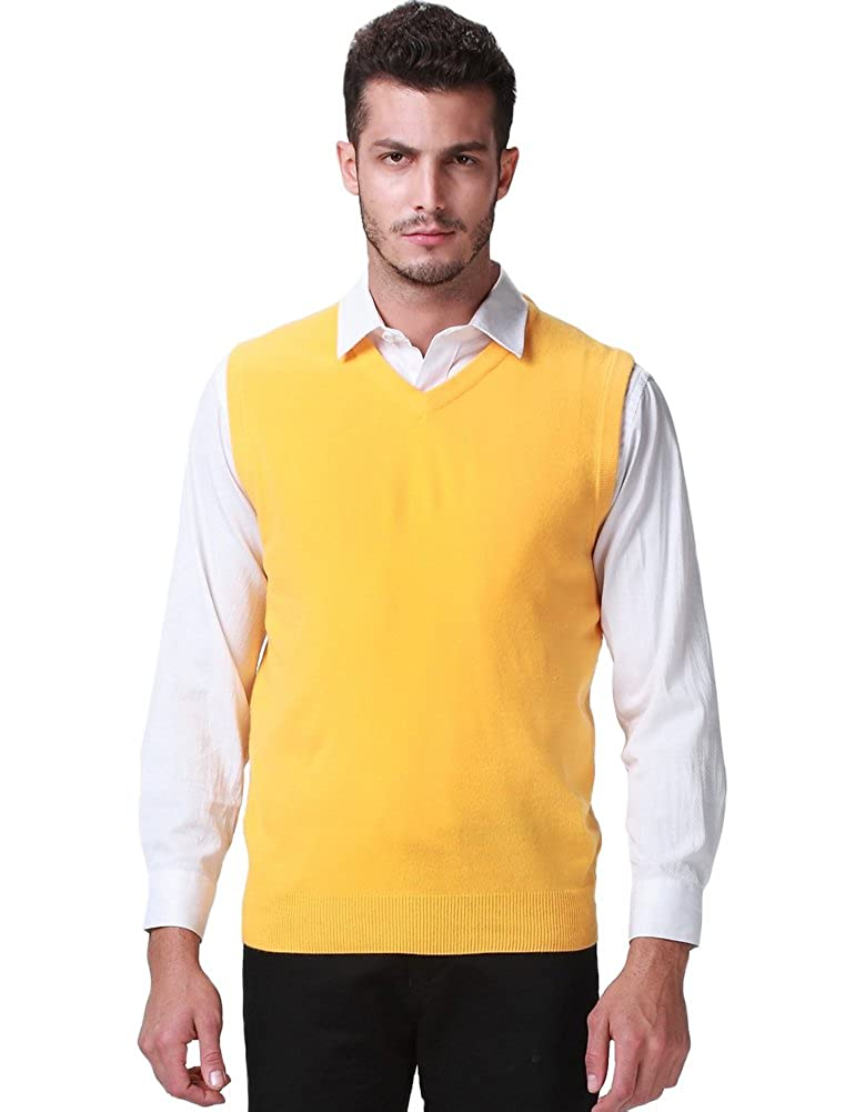 SSLR Men's Regular Fit V Neck Casual Sweater Vest: Amazon.co.uk ...