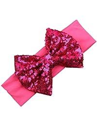 Baby-Haarband - SODIAL(R)Elastische Kinderstirnband niedlich Pailletten-Bogen-Baby-Haar-Zusaetze (Rose Red)