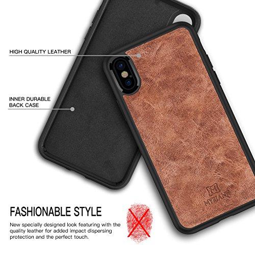 iPhone X Hülle, Myriann Premium Leder Rücken Flexible TPU Silikon Hybrid Weichen Slim Cover Case für iPhone X (Schwarz) Braun