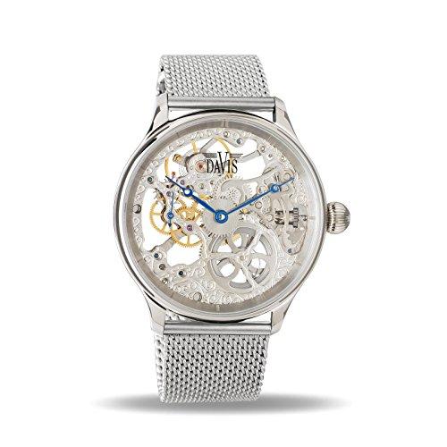 Davis - Herren Skeleton Uhr Mechanisch Skelett mit sichtbarem Uhrwerk Mesh Armband (Stahl)