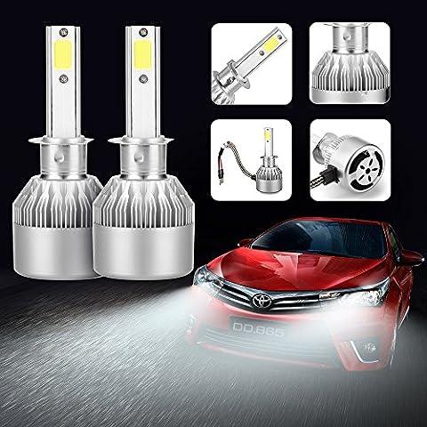 AGM 2x Lampe Ampoule LED COB Voiture H1 110W 9200LM Phare Headlight de Haute Puissance avec Lumière Pur Blanche 6000K Kit de Conversion de Rechange Auto Eclairage Feu Lumière pour Voiture Véhicule Automobile - H1