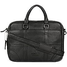 "OMAX Handmade 100% Genuine Large Compartment High Quality Black Colour Leather Messenger Laptop Bag for Men Size 16"" - LTHRMSN49"