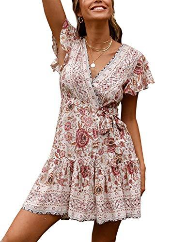 PRETTYGARDEN Damen Sommerkleid mit tiefem V-Ausschnitt und Blättermuster mit Rüschen am Saum Split Wrap A Line Minikleid mit Gürtel - weiß - Klein -