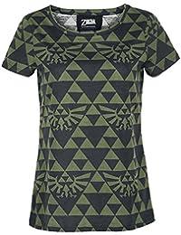 The Legend of Zelda Green Black Hyrule T-shirt Femme noir/vert