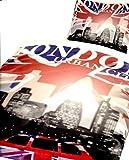 4 tlg. Bettwäsche 135 x 200 cm in blau/rot aus Microfaser London City Doppelpack Fotodruck, mit Reißverschluss