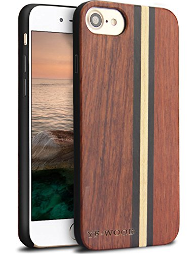 iPhone 7 Caso. YFWOOD Real Madera Tope Protector Trasero Case Cover para iPhone 7