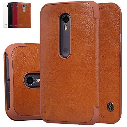 Nillkin Qin Series Elegant Royal Leather Bumper Flip Case Cover Case for Motorola Moto G3 / Moto G 3rd Gen (3rd Generation) (Brown)