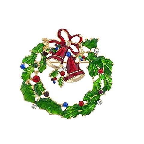 LUX Zubehör Urlaub Festive Weihnachten Kranz Glocken Stein Brosche Pin