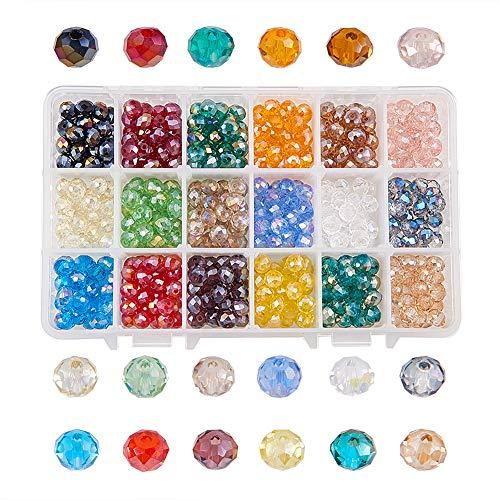 NBEADS 540PCS 8mm Crystal AB Placcato Color briolette sfaccettato rondelle Perline di Vetro di Cristallo per Creare Gioielli Contenitore Box