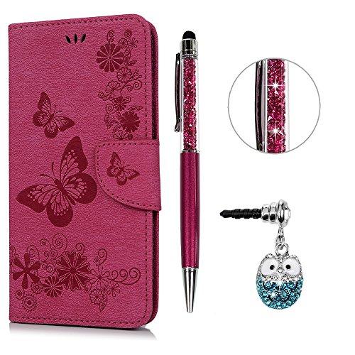 e Leder Case,KASOS iPhone 6 Plus Handyhülle Brieftasche Book Type PU Leder +TPU Innere Tasche Bunt Gemalt Magnetverschluss Ledertasche Cover,Rose rot + Stöpsel + Stylus ()