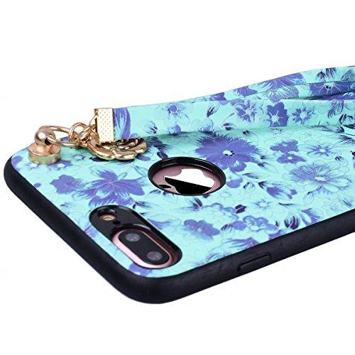 Yokata iPhone 7 Plus Hülle Hart PC Handyhülle Soft Flexible Silikon TPU Bumper Cover Ultra Slim Stoßfest PC Plastik Harte Schutzhülle mit Cherry Blume Muster Tasche Rückschale Hardcase für iPhone 7 Pl Grün