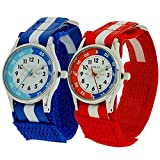 2 X Reflex Kinder Zeitlernuhr blaues & rotes Klett Stoffarmband + Uhr Lesen Urkunde