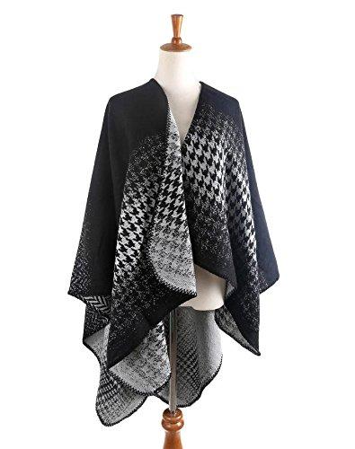 SALY Ombre Schal Frauen gemischte Farben Schal, Black and White - White Plaid Schal