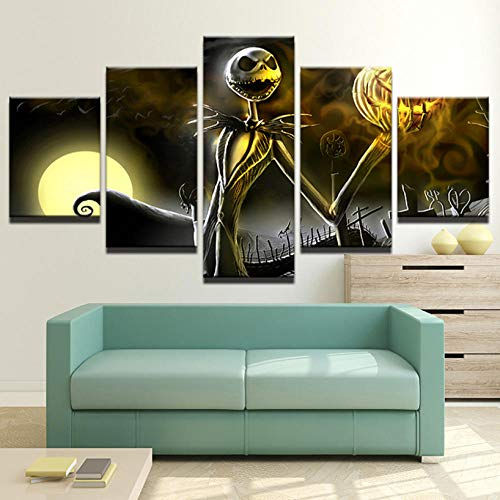 jixiaosheng Bilder Leinwand Wandkunst Rahmen Wohnkultur Wohnzimmer Halloween Poster 5 Stücke HD Gedruckt Nightmare Before Christmas Malerei-40x60cmx2 40x80cmx2 40x100cmx1 (Nightmare Before Christmas-halloween-dekorationen Diy)