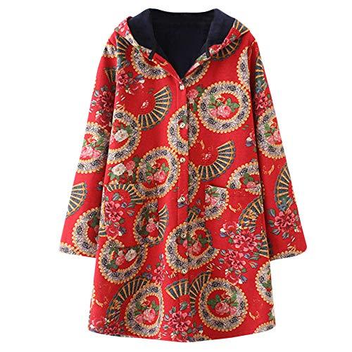 (Große Größe Frauen Winter Warm Outwear MYMYG Blumendruck mit Kapuze Taschen Vintage Oversize Mäntel drucken Lässige Kapuzenoberteil (D2-rot,EU:38/CN-L))