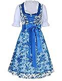 Clearlove Dirndl 3 tlg.Damen Midi Trachtenkleid für Oktoberfest,Spitzen Kleid&Bluse&Schürze, Blau,Rot