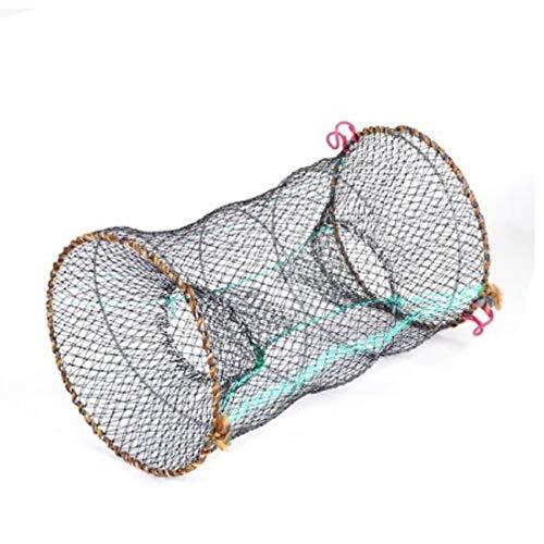 Oulensy Pond Schwarz 25cm Durchmesser Zylinder Faltbare Nylon-Mesh-Net Shrimp Langusten Falle