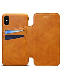 INFLATION iPhone 6/ 6Plus/ 7/ 7Plus/ 8/ 8Plus/ X Portefeuille en cuir porte-iPhone, Étui folio porte-cartes housse de protection