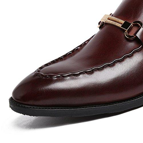 GRRONG Chaussures En Cuir Pour Hommes Banquet Ont Souligné Chaussures D'affaires brown