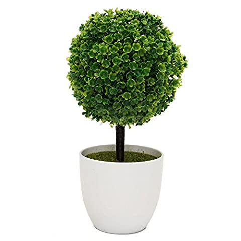 HMILYDYK Artificial Faux Potted Home Desk Tabletop Decor Flower Cherry Snow Tree Ball Plants Topiary Plant w/ White Planter Pots Office Garden Decor Outdoor Indoor