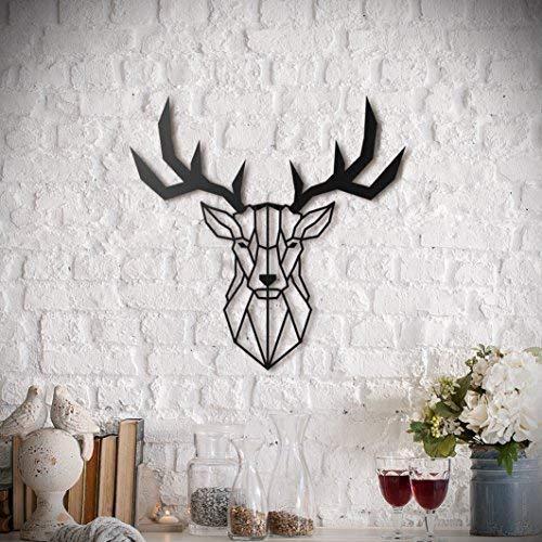 Tête de cerf   Art mural en métal de Hoagard - Design géométrique unique   47 cm x 53 cm   Prêt à accrocher   Décor mural en métal   Meilleure idée cadeau pour les amoureux des animaux  