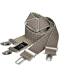 LINDENMANN Mens Braces / Suspenders / mens suspenders, X-shape, 35 mm stetch, XXL, beige, 7554-004