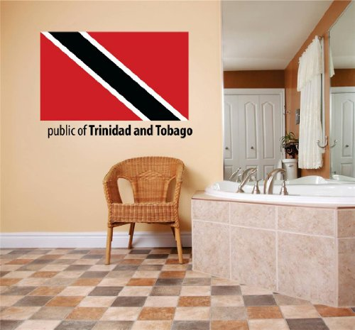 Decal - Vinyl Wall Sticker : Public Of Trinidad And Tobago Flag Country Pride Symbol Sign / Banner Emblem - Home Decor Boys Girls Dorm Room Bedroom Living Room Peel & Stick Picture Art Graphic Design Car Window Text Lettering Mural - Size : 10 Inches X 20 Inches - 22 Colors Available by Design With Vinyl Decals (Tobago-embleme Trinidad Und)