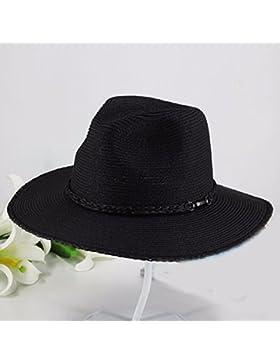 LVLIDAN Sombrero para el sol del verano Lady Anti-Sol Playa sombrero de paja plegable negro de estilo británico