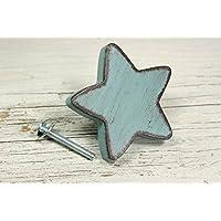 Bouton de meuble,de tiroir,étoile bleue patinée en bois peint