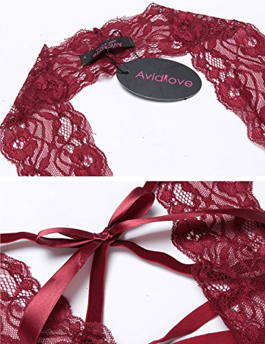 Avidlove Bodydoll Nachtwäsche Dessous Bodysuit Lingerie Damen Sexy One Piece Halter Spitze Teddy Neckholder erotik Rücken Krawatte Schwarz XXL Rot