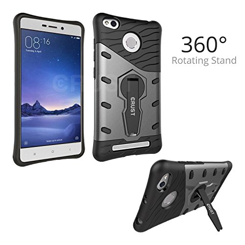 CRUST™ [360° Rotating Stand] Redmi 3S Back Case Cover, Impact 360 Series [Slim Armor] For Xiaomi Redmi 3S, Redmi 3S Prime, Redmi 3S Plus, Mi Redmi 3S+, Redmi 3 Shock Proof, Dual Layer Hard & Soft Back Cover - Gray
