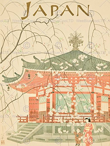 Pubblicità Travel Japan Temple pagoda arte giapponese 30 x 40 cms fine art Print Art poster (Pagoda Japan)