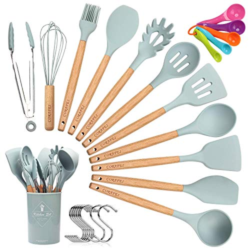 Corafei 12 pezzi utensili cucina set di utensili da cucina con holder,resistente al calore con manico legno duro,antiaderenti silicone,incluso cucchiaio silicone spatola
