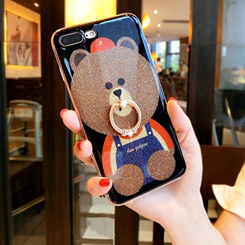 iPhone 7 Hülle,iPhone 7 Silikon Hülle [Kratzfeste, Scratch-Resistant],JAWSEU Creative Design Cute Silikon Crystal Clear Schutzhülle Transparent TPU Giraffe Essen des Apfels Muster Handyhülle Stoßdämpf Ring Holder-Bär Band