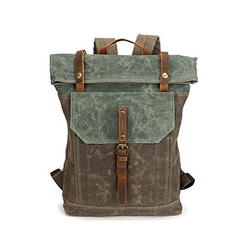 d48e32de87 BAGEHUA giovani ragazzi e ragazze di moda rétro borsa a tracolla cera di  olio tela impermeabile e resistente di viaggio zaino Picnic larghezza 31cm  alta ...