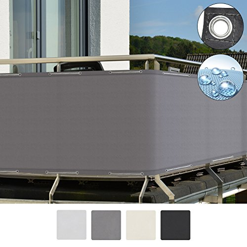Sol Royal SolVision Brise vue pour balcon PB2 PES en Polyester 500x90 cm Gris avec oeillets et cordons