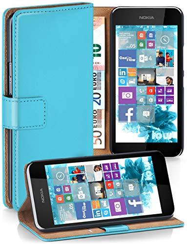 moex® Booklet mit Flip Funktion [360 Grad Voll-Schutz] für Nokia Lumia 530 | Geldfach und Kartenfach + Stand-Funktion und Magnet-Verschluss, Türkis (Dual-sim Lumia530)
