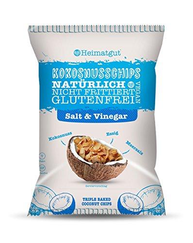 Heimatgut Kokosnusschips Salt & Vinegar ( 6 x 40g ) 3-fach gebackene Chips aus Kokosnuss. Veganer und glutenfreier Snack mit Salz und Essig. (Chips Gebacken)