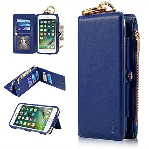 """iPhone 66S Fall–ticase Premium Leder Wallet schutzhülle [Standfuß] [Abnehmbare] [-] Flip Cover mit Kreditkarte Halter Reißverschluss Geldbörse schwarz iPhone 6 6S 4.7"""" blau"""