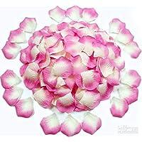 1000 piece Deep Pink and White Shaded Silk Rose Petals Artificial Flower Wedding Decor
