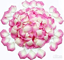 1000 piece Deep Pink and White Shaded Silk Rose Petals Artificial Flower Wedding Decor