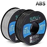 SUNLU ABS Filament 1.75mm for FDM 3D Printer, 2KG(4.4LBS) ABS 3D Filament Accuracy +/- 0.02 mm, Black+Grey