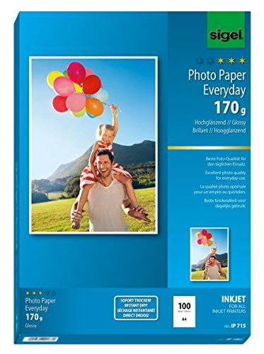 Preisvergleich Produktbild Sigel IP715 InkJet Fotopapier hochglänzend, weiß, 170 g, A4, 100 Blatt - weitere Stückzahlen