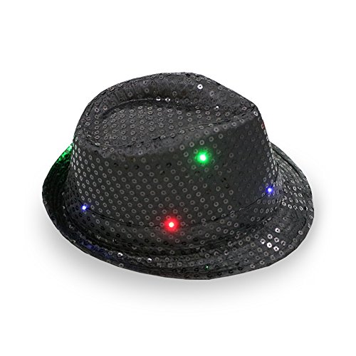 Forepin LED Flashing Trilby Hats Hip-hop Dance Cap Unisex Bright Lighted Light Up Hat for Disco Party Birthday Halloween - Black