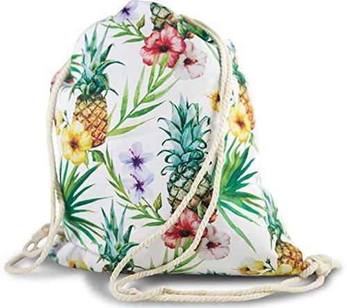 Tropical-motiv (FashionCHIMP Stoffbeutel mit verschiedenen Motiven für Sport und Freizeit, Gymbag, Turbeutel (Ananas-Tropical-Weiß))